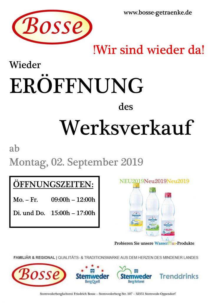 """Ab 02. September 2019 bieten wir Ihnen wieder einen direkten Werksverkauf von hochwertigen Produkten der Stemwederbergkelterei Friedrich Bosse an. """"Stemweder Mineralwasser"""" und mehr... Schauen Sie vorbei!"""